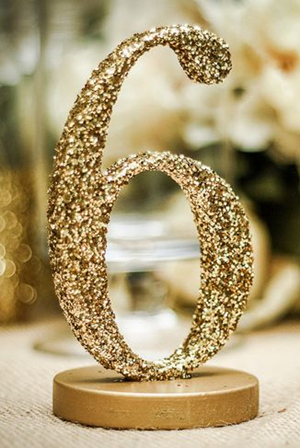 diy gold sparkle weding table number ideas