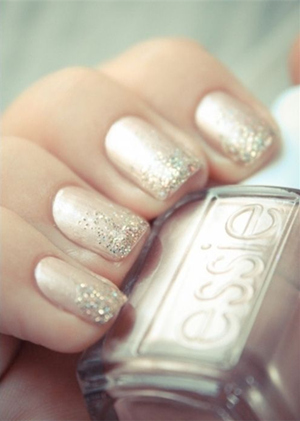 french manicure glittering gold wedding nail ideas