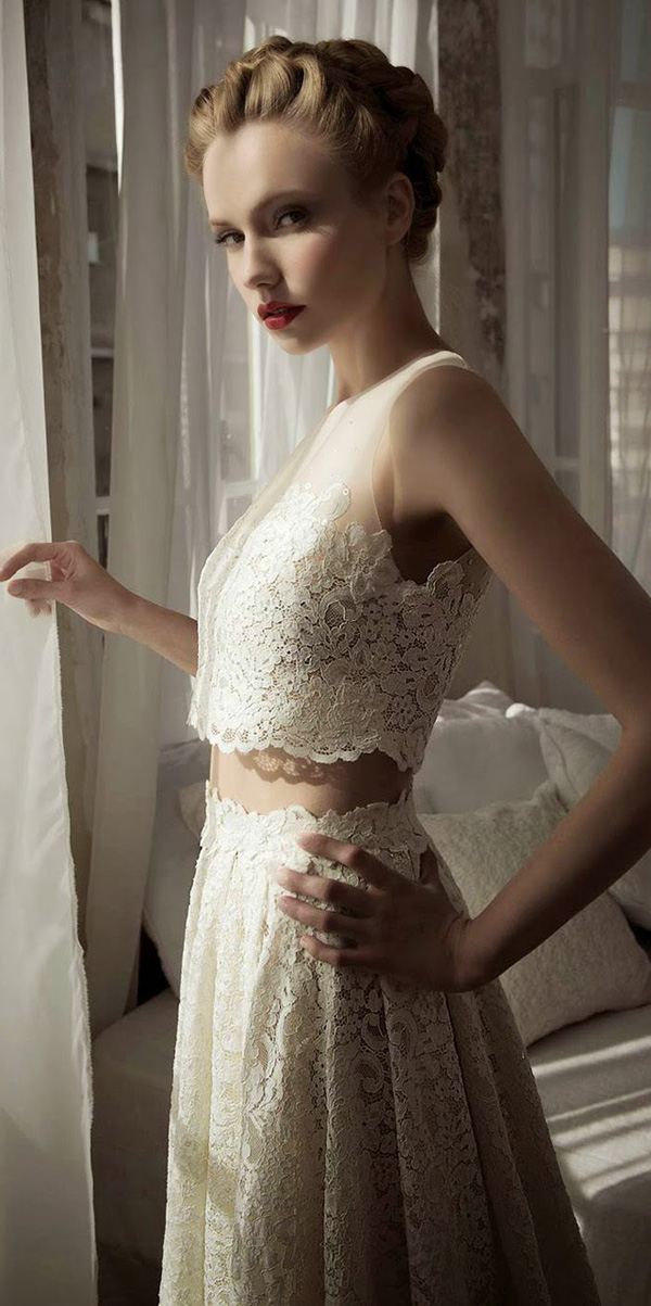 lihi hod vintage two pieces lace wedding dresses
