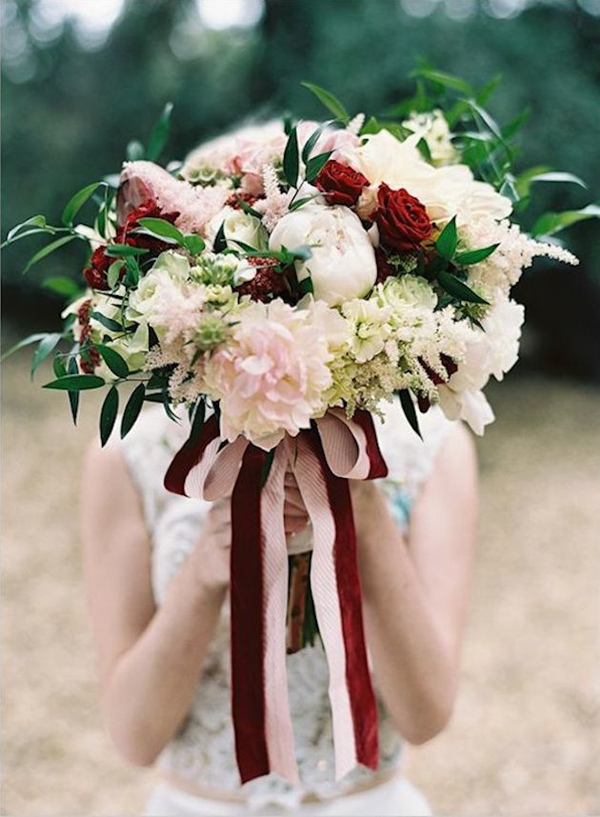 marsala and pink roses fall wedding bouquets