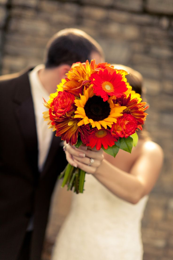 orange and yellow Fall Wedding Bouquets With Sunflowers and African Daisy