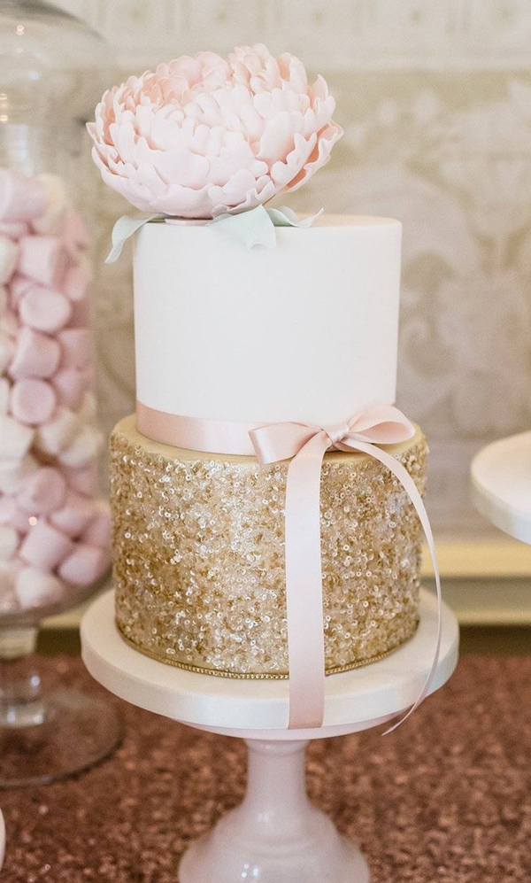 pink and glittering gold elegant wedding cakes