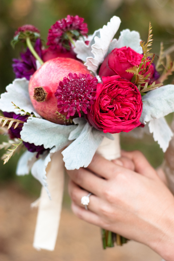 pink and purple fall wedding bouquets with pomegranate
