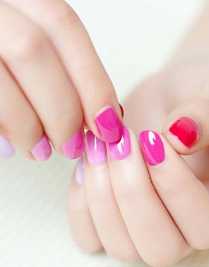 shades of pink colorful wedding nail designs