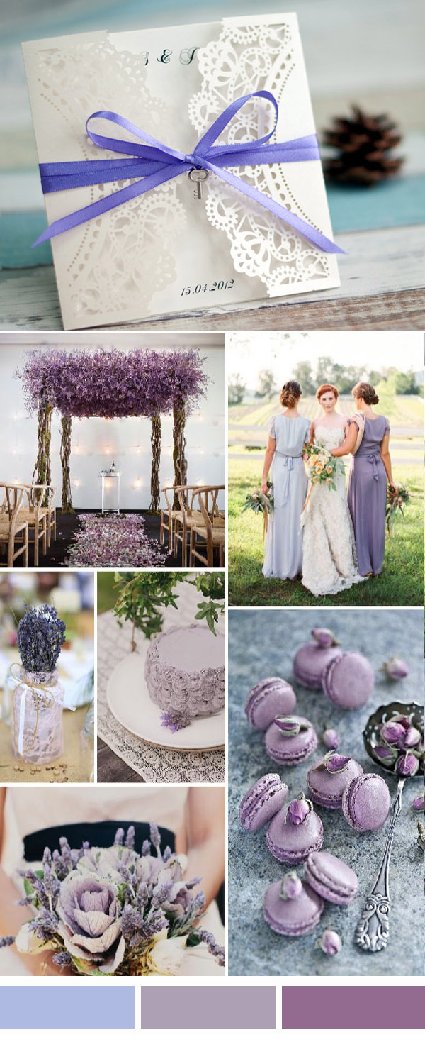 shades of purple lavender wedding color ideas and invitations