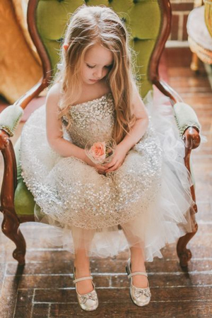 silver glittering flower girl dresses to make your day sparkle