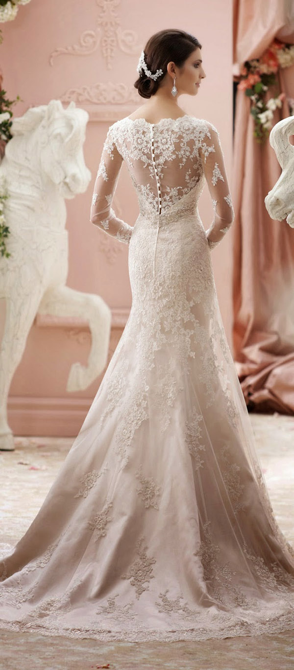 stunning long sleeves vintage lace wedding dresses