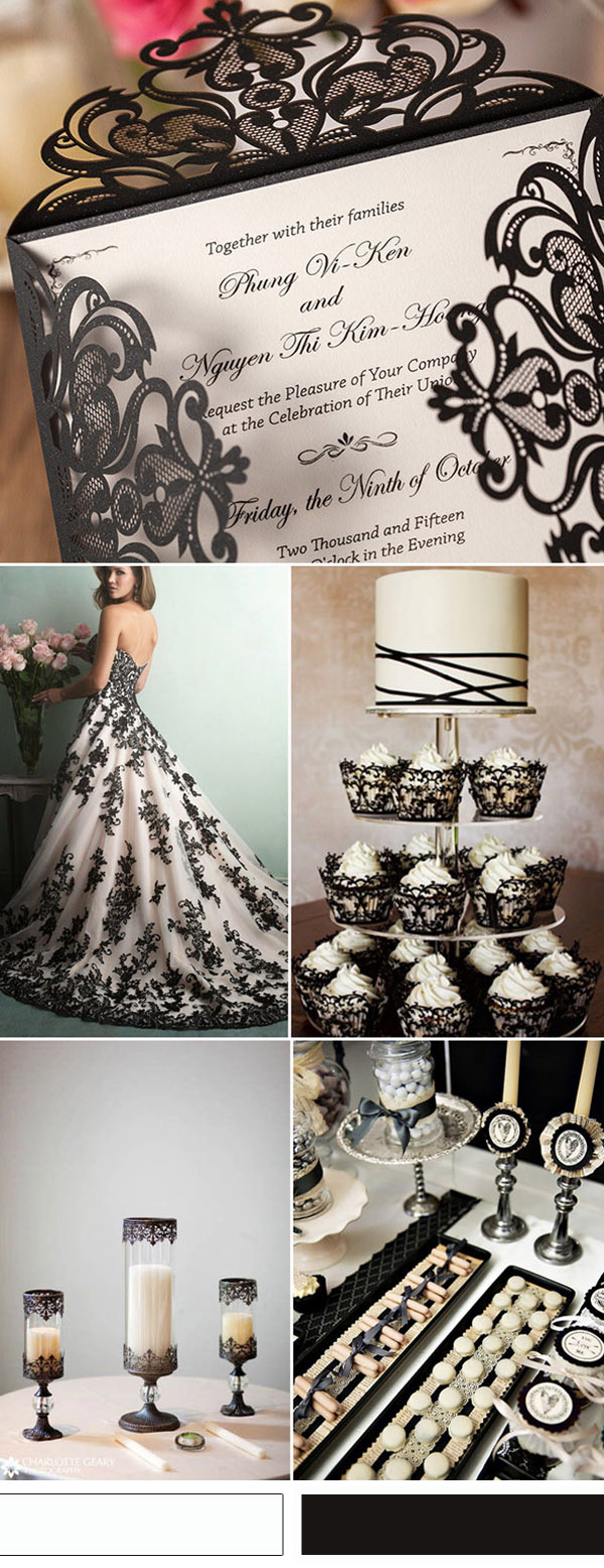 vintage black and white lace wedding ideas and wedding invitations