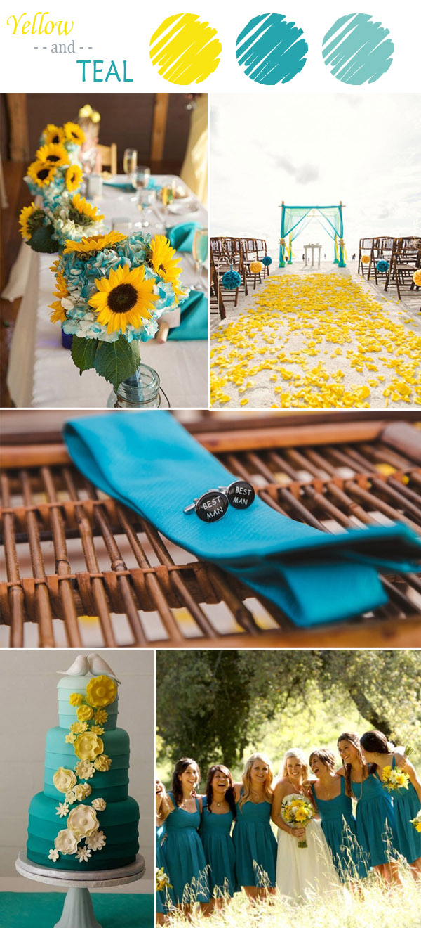 Yellow And Teal Wedding Color Ideas 2017