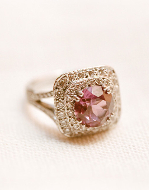 Round cut pink sapphire rose gold vintage wedding engagement rings
