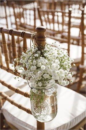 8 awesome and easy ways to decorate wedding chairs babys breath in mason jars rustic themed wedding chair decoration ideas junglespirit Gallery