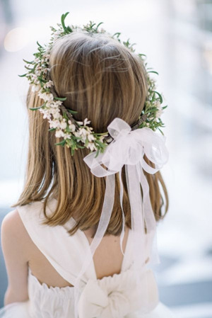 beautiful flower girl hairstyles with flower crown and ribbon