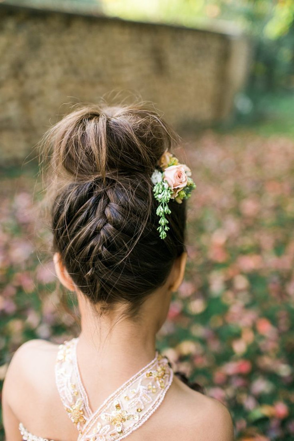 boho themed updo flower girl hairstyles