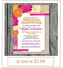 colorful modern bridal shower invitations
