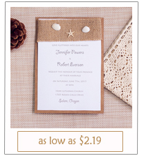 diy shells and starfish rustic beach wedding invitations