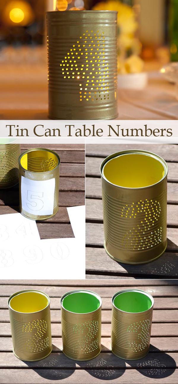diy tin can wedding table numbers for rustic wedding ideas