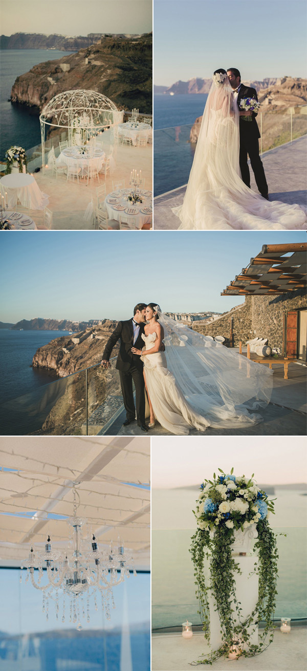 elegant beach destination wedding ideas in Santorini Greece