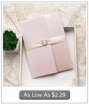 elegant blush pink pocket wedding invites with rhinestone buckles