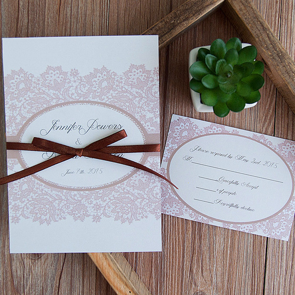 elegant printed lace and ribbon vintage fall wedding invitations