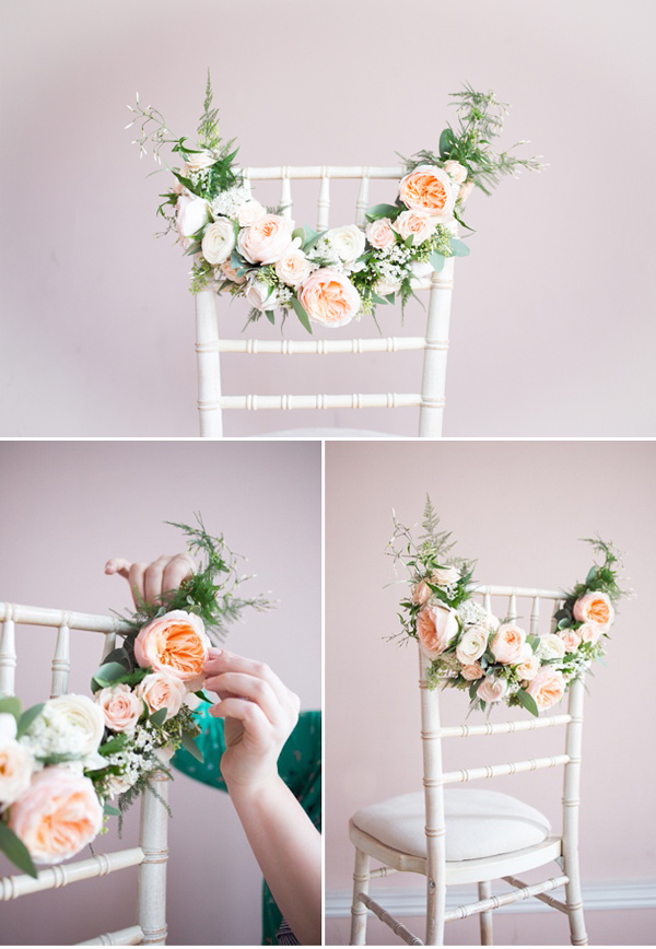 floral decorated chic elegant wedding chair ideas