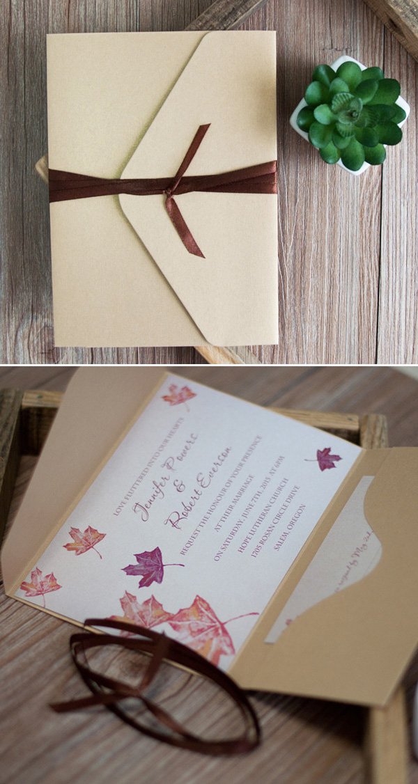 gold pocket and brown ribbon maple leaves fall wedding invitations