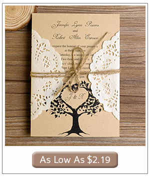 lace and burlap country tree wedding invitations