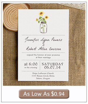 mason jars and sunflower inspired country wedding invitations