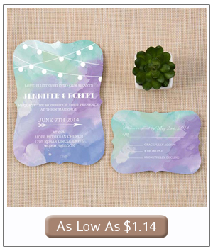 mint green and purple ombre watercolor wedding invitations