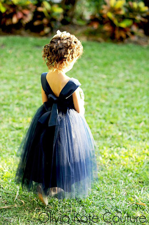 navy blue tulle flower girl dresses