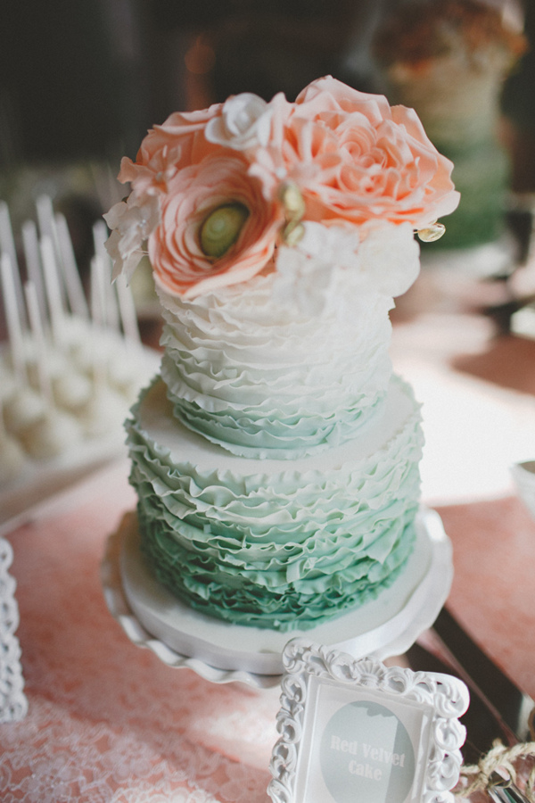 omber peach and mint green wedding cakes