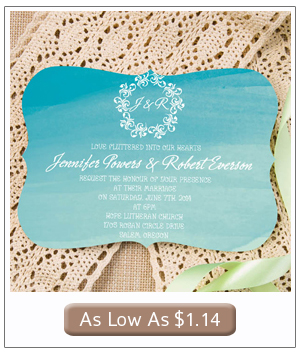ombre blue beach themed watercolor summer wedding invitations