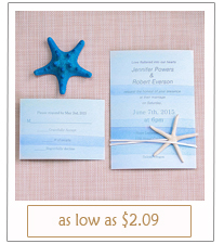 ombre blue starfish beach wedding invitations