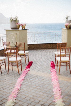 ombre pink petals wedding aisle for ceremony ideas