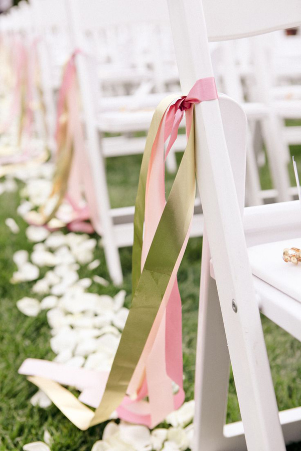 Good Pink And Green Ribbon Decorated Wedding Chairs For Outdoor Wedding Ideas