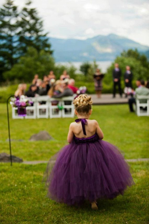 plum purple tulle flower girl dresses