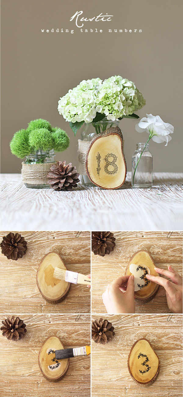 rustic diy wooden wedding table number ideas for country weddings