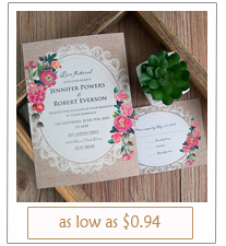 shabby chic floral rustic burlap wedding invitations