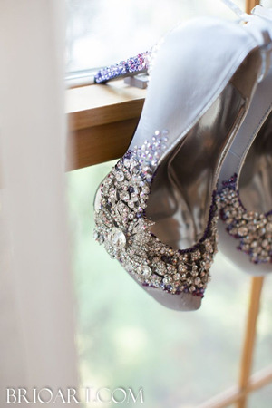 shades of purple ombre wedding shoes