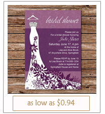 shades of purple wedding shower invitations