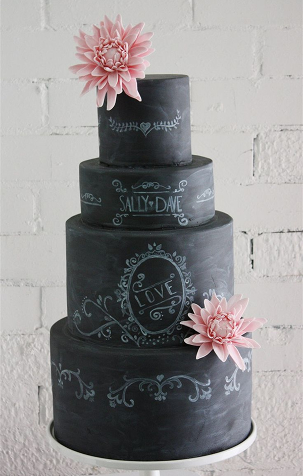 simple chalkboard wedding cakes with pink flowers