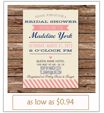 simple pink and navy bridal shower invitations