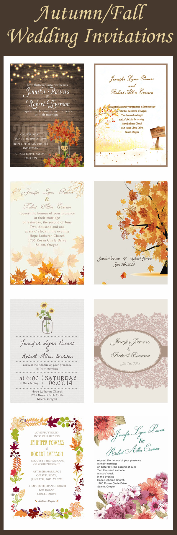 New Released Fall Wedding Invitations for Autumn Brides 2015 ...