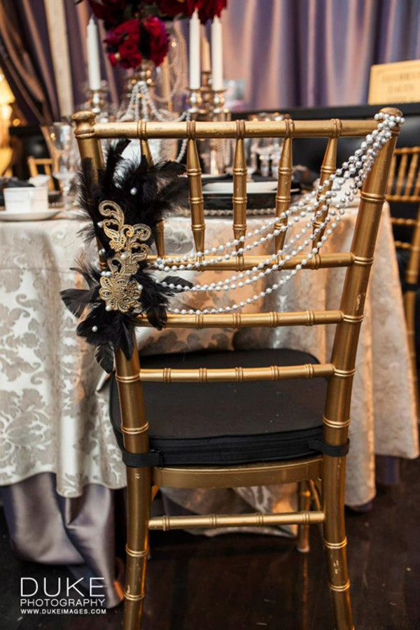 Stylish Wedding Chairs Decorated With Pearls For Vintage Ideas