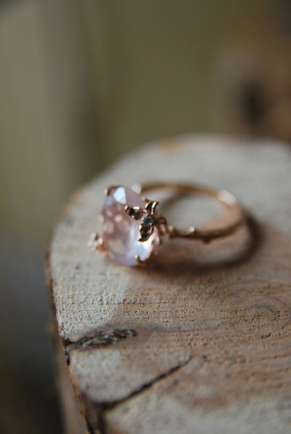unique rose gold vintage stone wedding engagement rings