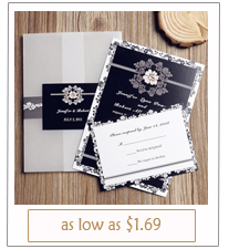 vintage pocket black and white wedding invitations