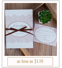 vintage printed lace and ribbon wedding invitations