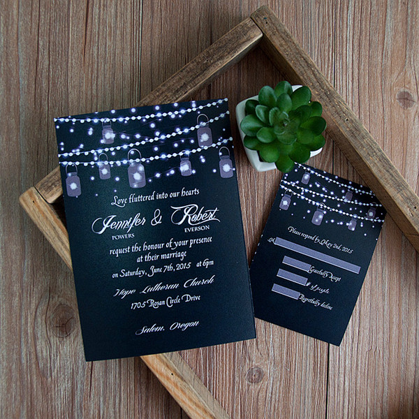 whimsical string lights fall wedding invitations for autumn brides