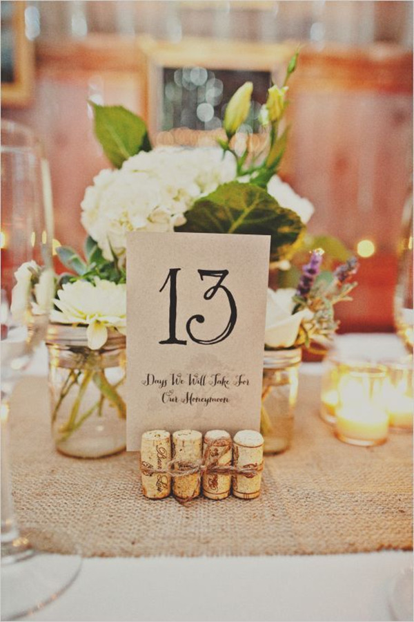 wine cock rustic diy wedding table number ideas