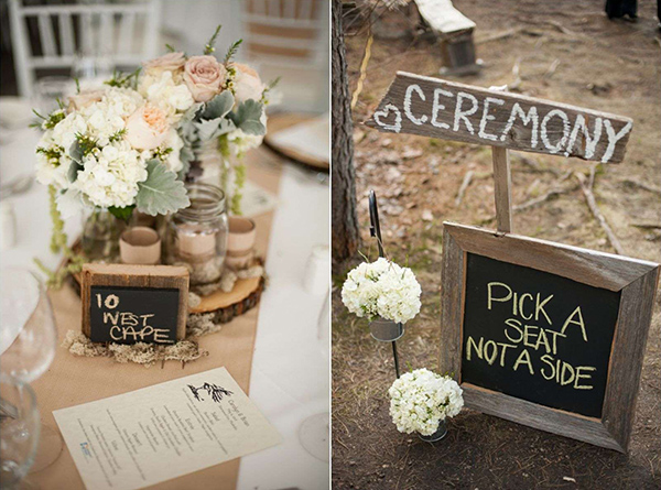 woodland country wedding ideas for ceremony and reception