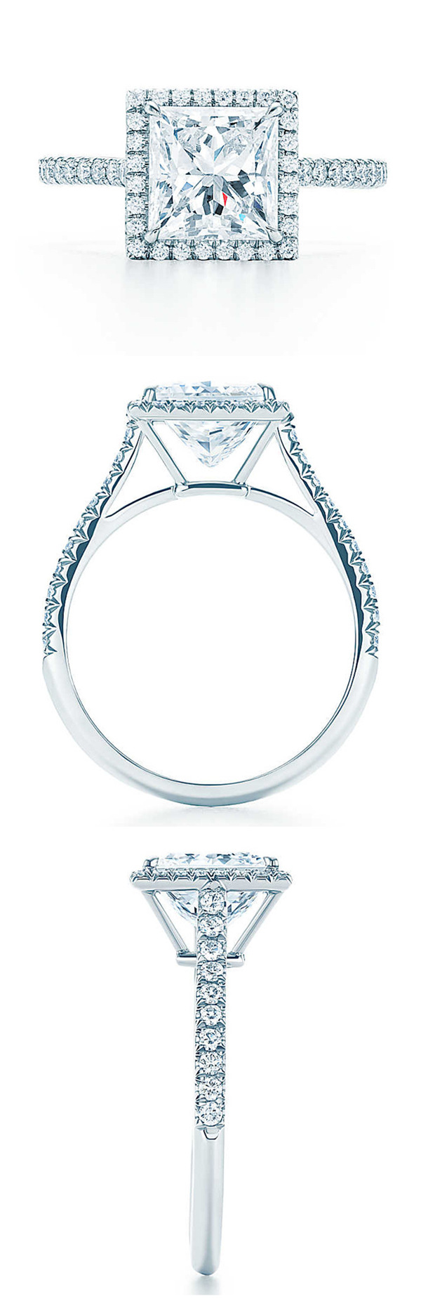 Tiffany princess cut halo wedding engagement rings